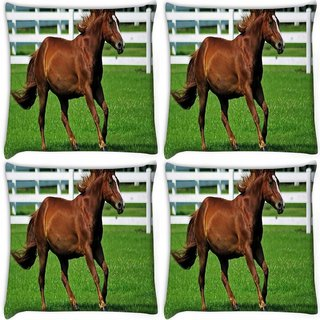 Snoogg Pack Of 4 Brown Horse Running Digitally Printed Cushion Cover Pillow 10 x 10 Inch