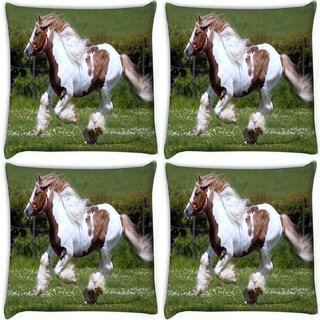 Snoogg Pack Of 4 Hairy Horses Digitally Printed Cushion Cover Pillow 10 x 10 Inch