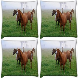 Snoogg Pack Of 4 Horses In Garden Digitally Printed Cushion Cover Pillow 10 x 10 Inch