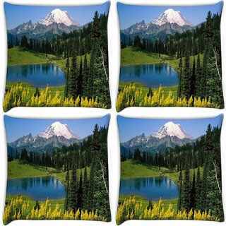 Snoogg Pack Of 4 Yellow Flowers Digitally Printed Cushion Cover Pillow 10 x 10 Inch