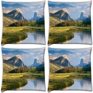 Snoogg Pack Of 4 Lake And Garden Digitally Printed Cushion Cover Pillow 10 x 10 Inch
