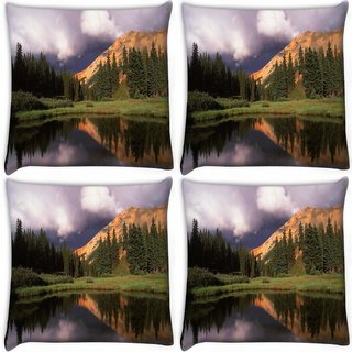 Snoogg Pack Of 4 Abstract Dark Sky Digitally Printed Cushion Cover Pillow 10 x 10 Inch