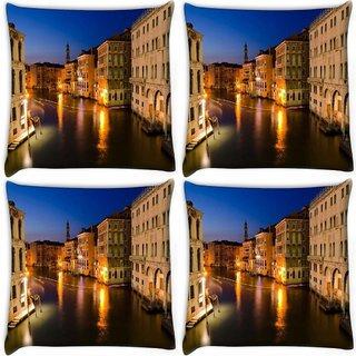 Snoogg Pack Of 4 Abstract Lake At Night Digitally Printed Cushion Cover Pillow 10 x 10 Inch