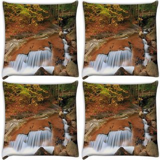 Snoogg Pack Of 4 Water Flowing Down Digitally Printed Cushion Cover Pillow 10 x 10 Inch