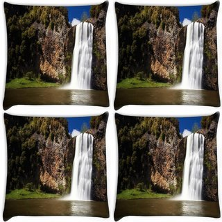 Snoogg Pack Of 4 White Waterfall Digitally Printed Cushion Cover Pillow 10 x 10 Inch