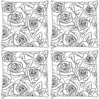 Snoogg Pack Of 4 Black Roses White Pattern Digitally Printed Cushion Cover Pillow 10 x 10 Inch