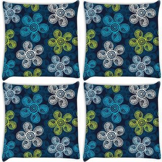 Snoogg Pack Of 4 Multicolor Floral Abstract Digitally Printed Cushion Cover Pillow 10 x 10 Inch