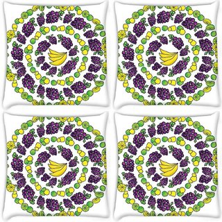 Snoogg Pack Of 4 Multiple Fruits Digitally Printed Cushion Cover Pillow 10 x 10 Inch