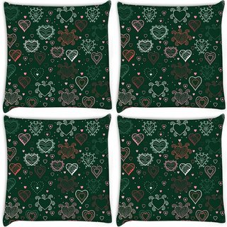 Snoogg Pack Of 4 Abstract Hearts Green Pattern Digitally Printed Cushion Cover Pillow 10 x 10 Inch