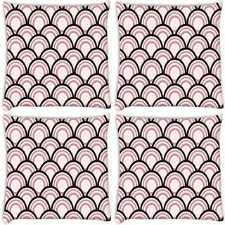 Snoogg Pack Of 4 Abstract Black Pattern Design Digitally Printed Cushion Cover Pillow 10 x 10 Inch