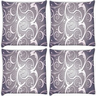 Snoogg Pack Of 4 Abstract White Grey Pattern Digitally Printed Cushion Cover Pillow 10 x 10 Inch
