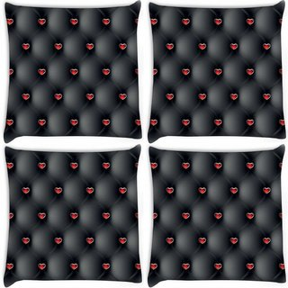 Snoogg Pack Of 4 Red Small Hearts Digitally Printed Cushion Cover Pillow 10 x 10 Inch