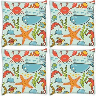 Snoogg Pack Of 4 Fish World Blue Pattern Digitally Printed Cushion Cover Pillow 10 x 10 Inch