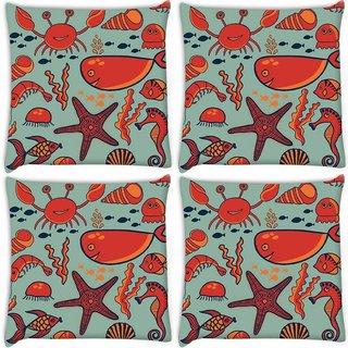 Snoogg Pack Of 4 Fish World Grey Pattern Digitally Printed Cushion Cover Pillow 10 x 10 Inch