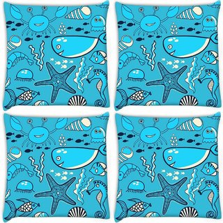 Snoogg Pack Of 4 Neon Fish Water Color Digitally Printed Cushion Cover Pillow 10 x 10 Inch
