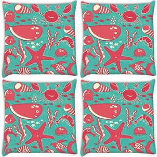 Snoogg Pack Of 4 Red Fish World Abstract Digitally Printed Cushion Cover Pillow 10 x 10 Inch