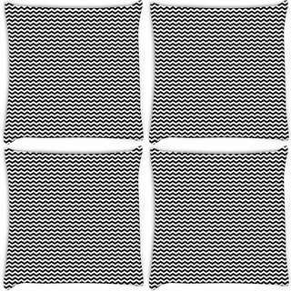Snoogg Pack Of 4 Black And White Strips Digitally Printed Cushion Cover Pillow 10 x 10 Inch