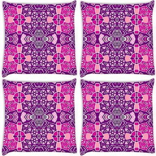 Snoogg Pack Of 4 Mixed Color Pattern Digitally Printed Cushion Cover Pillow 10 x 10 Inch