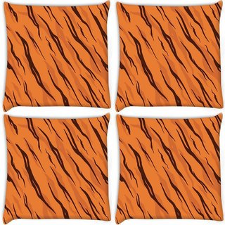 Snoogg Pack Of 4 Jungle Pattern Digitally Printed Cushion Cover Pillow 10 x 10 Inch