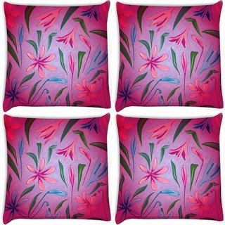 Snoogg Pack Of 4 Colorful Petals Digitally Printed Cushion Cover Pillow 10 x 10 Inch
