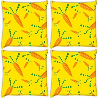 Snoogg Pack Of 4 Carrot Yellow Digitally Printed Cushion Cover Pillow 10 x 10 Inch
