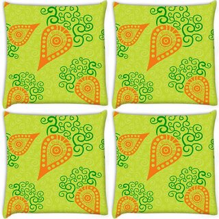 Snoogg Pack Of 4 Green Pattern Digitally Printed Cushion Cover Pillow 10 x 10 Inch