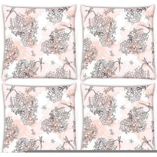 Snoogg Pack Of 4 Flower Tree Digitally Printed Cushion Cover Pillow 10 x 10 Inch