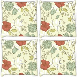 Snoogg Pack Of 4 Red Flower Pattern Digitally Printed Cushion Cover Pillow 10 x 10 Inch