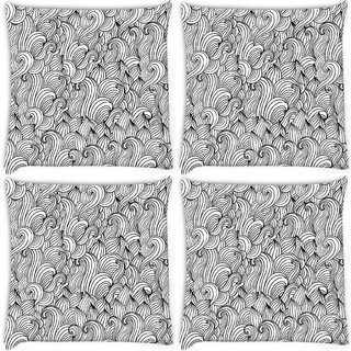 Snoogg Pack Of 4 White Abstarct Pattern Digitally Printed Cushion Cover Pillow 10 x 10 Inch
