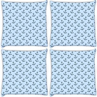 Snoogg Pack Of 4 Blue Anchor Digitally Printed Cushion Cover Pillow 10 x 10 Inch