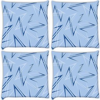 Snoogg Pack Of 4 Blue Z Digitally Printed Cushion Cover Pillow 10 x 10 Inch