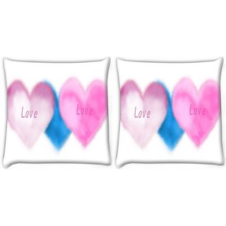 Snoogg Pack Of 2 Pink Love Digitally Printed Cushion Cover Pillow 10 x 10 Inch