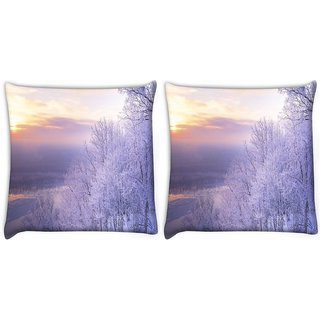 Snoogg Pack Of 2 White Tree Digitally Printed Cushion Cover Pillow 10 x 10 Inch