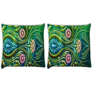 Snoogg Pack Of 2 Abstract Floral Digitally Printed Cushion Cover Pillow 10 x 10 Inch