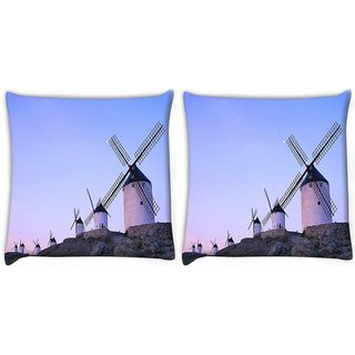 Snoogg Pack Of 2 Windmill Digitally Printed Cushion Cover Pillow 10 x 10 Inch