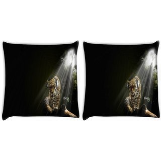 Snoogg Pack Of 2 Jungle Digitally Printed Cushion Cover Pillow 10 x 10 Inch
