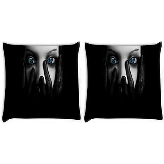Snoogg Pack Of 2 Lady Eyes Digitally Printed Cushion Cover Pillow 10 x 10 Inch