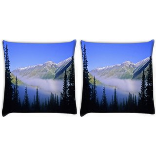 Snoogg Pack Of 2 Mountain Fog Digitally Printed Cushion Cover Pillow 10 x 10 Inch