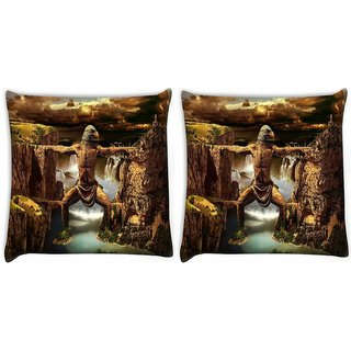 Snoogg Pack Of 2 Mountain Man Digitally Printed Cushion Cover Pillow 10 x 10 Inch