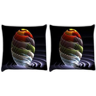 Snoogg Pack Of 2 Waves Globe Digitally Printed Cushion Cover Pillow 10 x 10 Inch