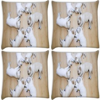 Snoogg Pack Of 4 Cute Dog Puppies Digitally Printed Cushion Cover Pillow 10 x 10 Inch