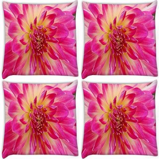 Snoogg Pack Of 4 Dahlia Flower Digitally Printed Cushion Cover Pillow 10 x 10 Inch