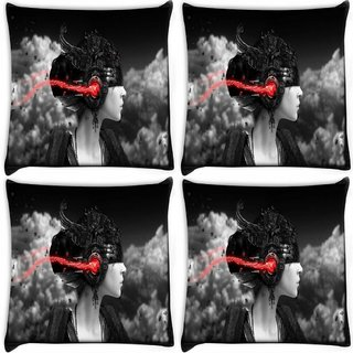 Snoogg Pack Of 4 Dark Women Digitally Printed Cushion Cover Pillow 10 x 10 Inch