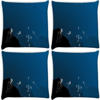 Snoogg Pack Of 4 Deep Sea Hunting Digitally Printed Cushion Cover Pillow 10 x 10 Inch