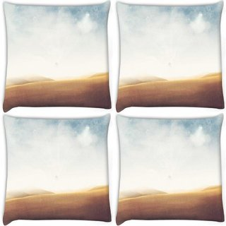 Snoogg Pack Of 4 Desert Vintage Digitally Printed Cushion Cover Pillow 10 x 10 Inch