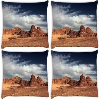 Snoogg Pack Of 4 Desert Mountain Digitally Printed Cushion Cover Pillow 10 x 10 Inch
