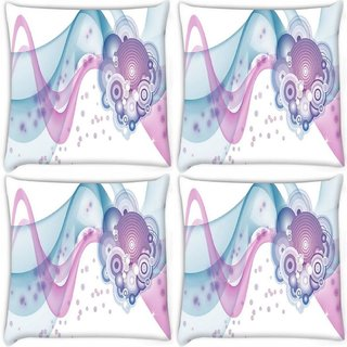 Snoogg Pack Of 4 Design Vector Digitally Printed Cushion Cover Pillow 10 x 10 Inch