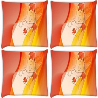 Snoogg Pack Of 4 Design Widescreen Hdtv Digitally Printed Cushion Cover Pillow 10 x 10 Inch