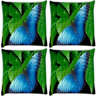 Snoogg Pack Of 4 Butterflies Wallpaper Digitally Printed Cushion Cover Pillow 10 x 10 Inch