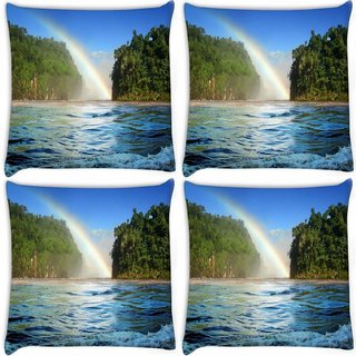 Snoogg Pack Of 4 Nature View Rainbow Digitally Printed Cushion Cover Pillow 10 x 10 Inch